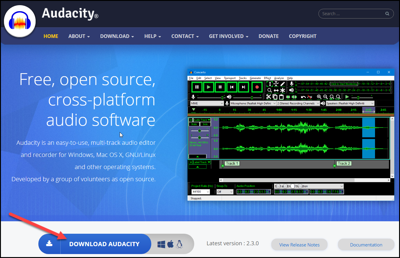 Audacity for Mac download button